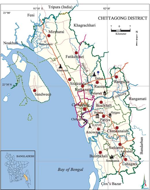 chittagong city map bangladesh Chittagong District Banglapedia chittagong city map bangladesh