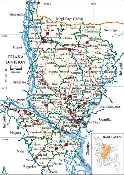 Dhaka Division Banglapedia - Map of dhaka division bangladesh