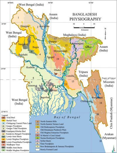 Physiography Banglapedia - Map of dhaka division bangladesh